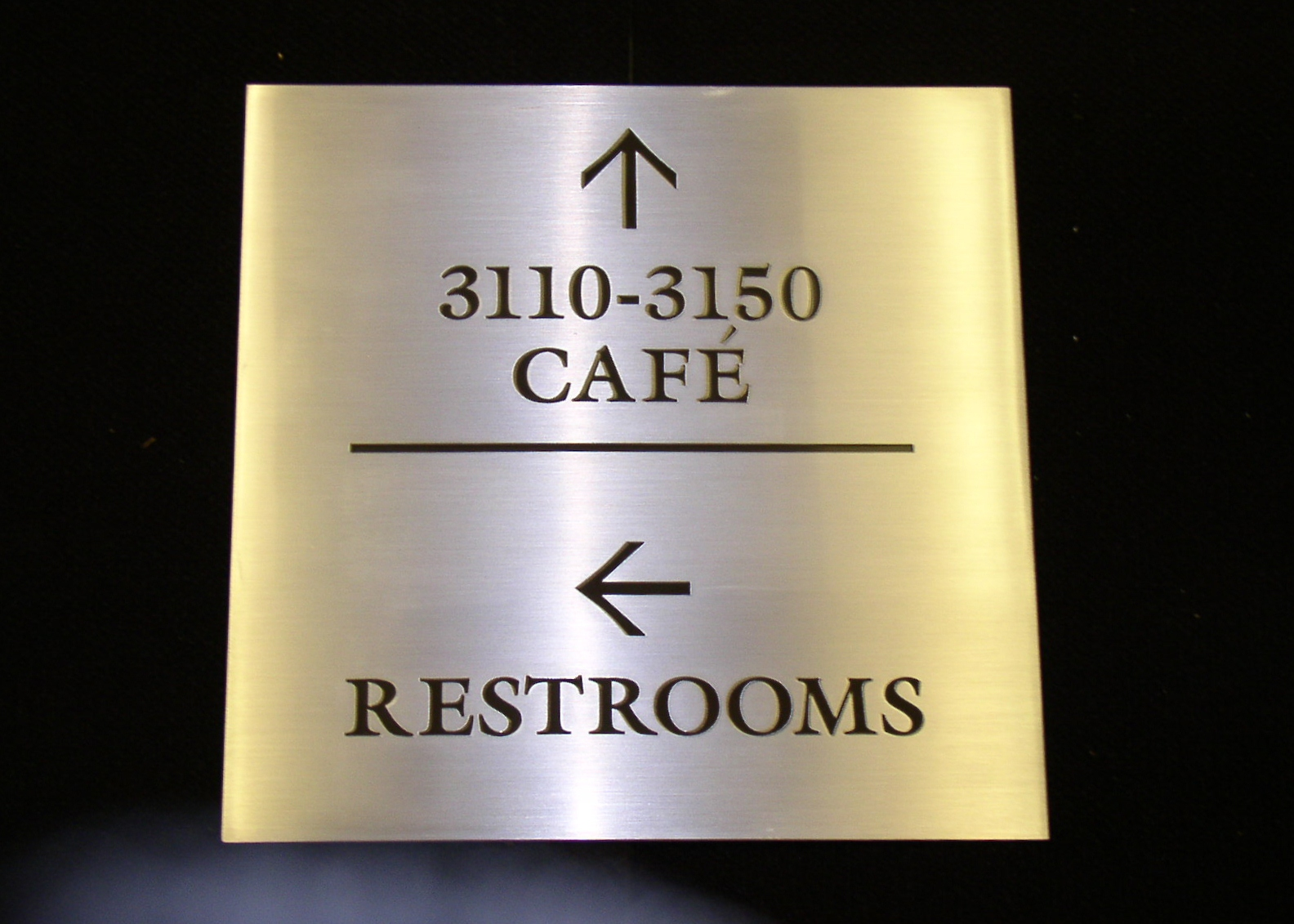 Etched stainless wayfinding sign